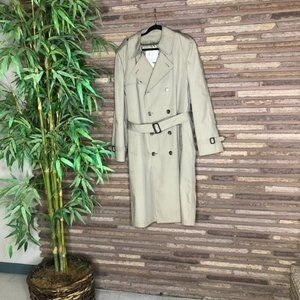 London Fog Khaki DB Belted Trench Raincoat